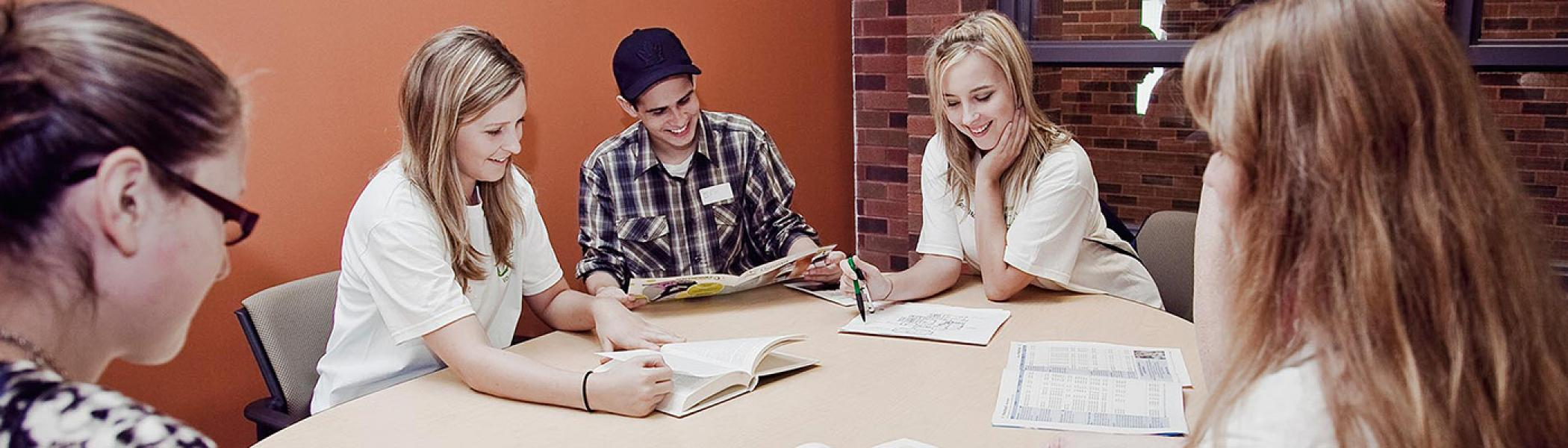 Trent University Durham students studying together in Durham campus.