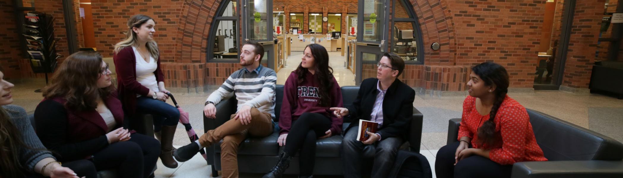 Trent University Durham GTA students having a discussion