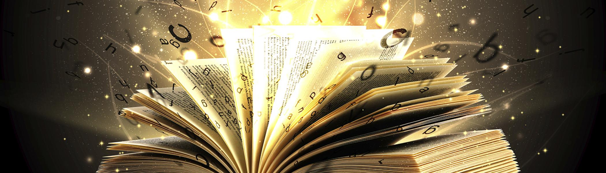 An open book with letters exploding out of the pages like shooting stars