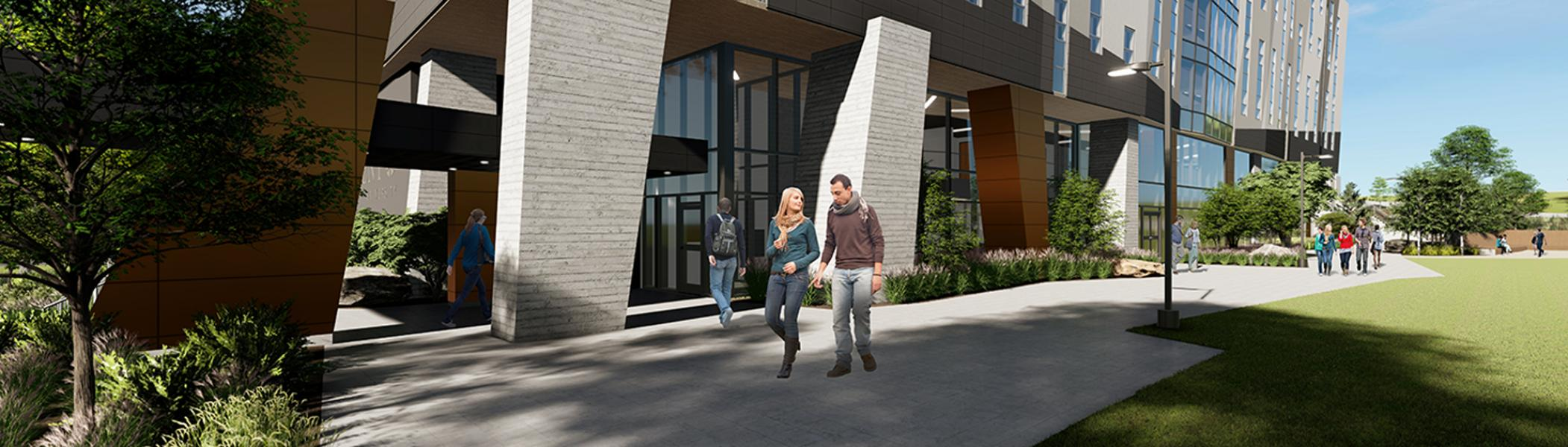 Architect rendering of the path view of the Trent University Durham GTA Expansion
