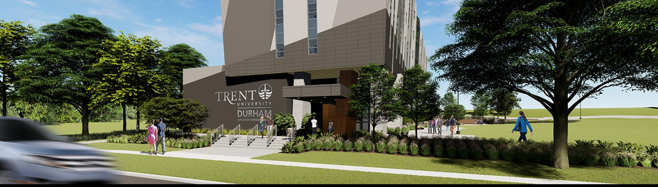 Architect rendering of the west view of the Trent University Durham GTA expansion.