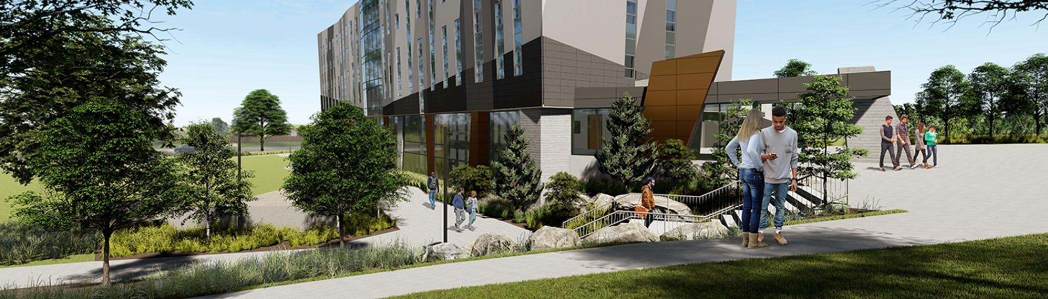 Architect rendering of the east view of the Trent University Durham GTA expansion.