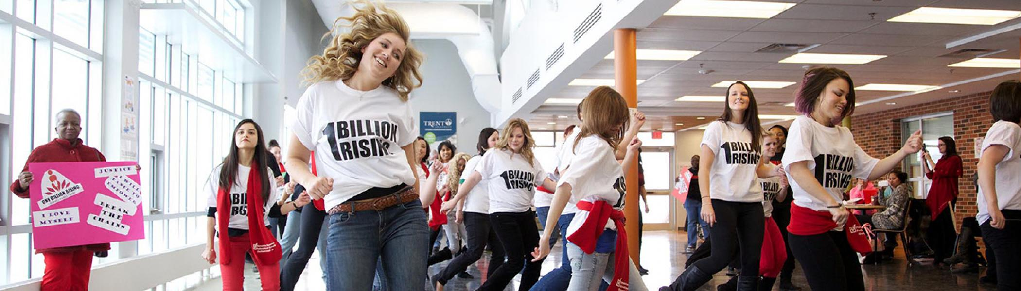 Trent University Durham students doing a flashmob in the Durham campus
