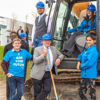 Trent Durham GTA Head, Joe Muldoon and students at Durham Expansion Groundbreaking event
