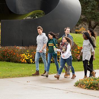 Trent University Durham students walking.