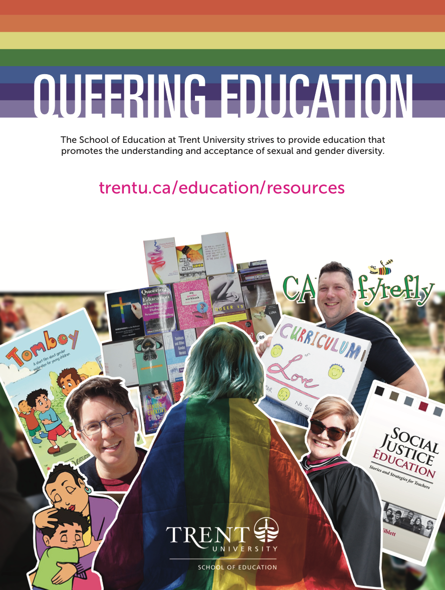 colourful poster with rainbow colours, pictures of queer faculty and the title Queering Education