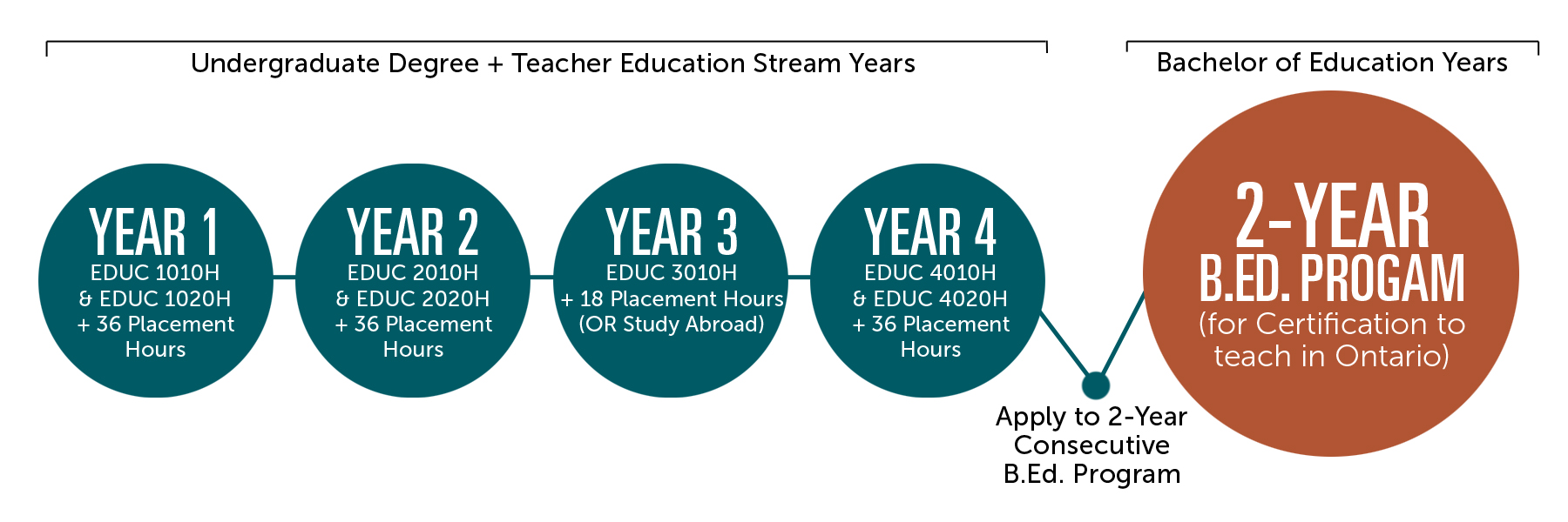 timeline graphic of 4 undergraduate plus teacher education stream years then apply to 2 year B Ed degree