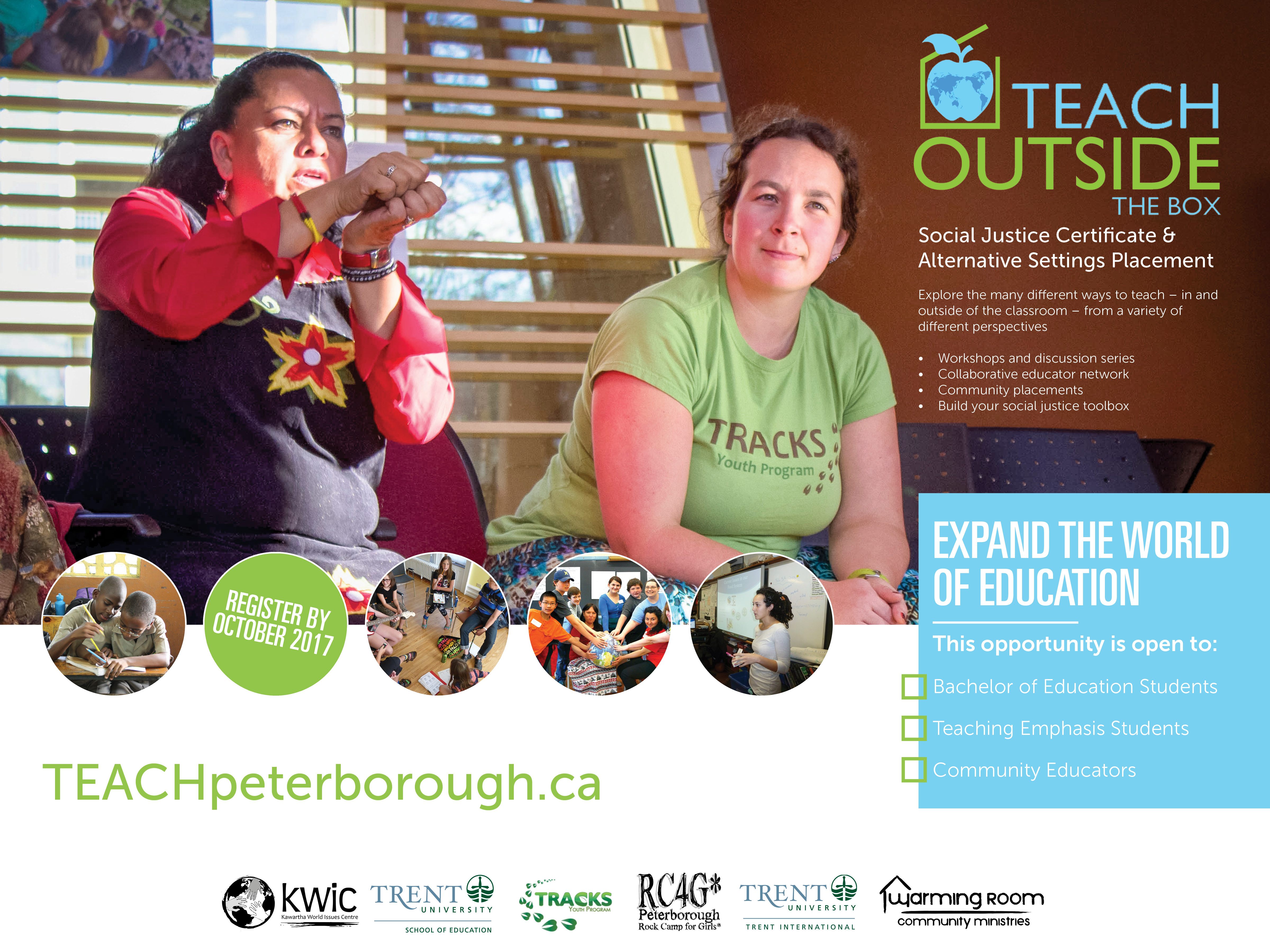 teach outside the box poster with two women speaking in the Gathering Space