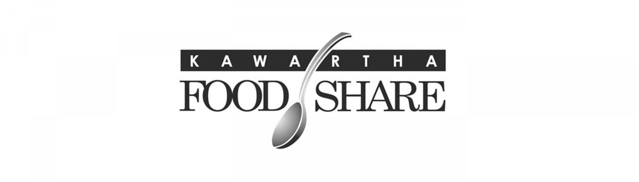 Kawartha Food Share logo (just text) with a spoon in between of Food and Share