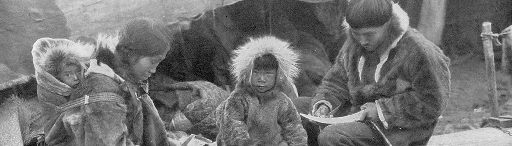 image from early 21st century of Inuit family
