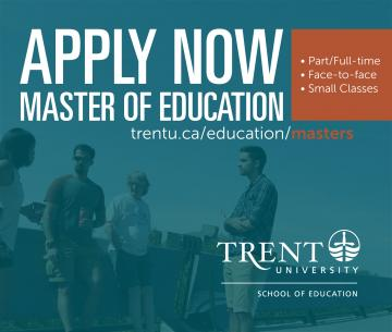 APPLY NOW to Master of Education program, students standing, talking on bridge