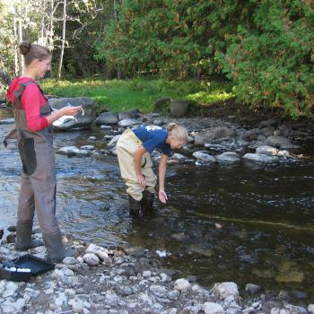 2 female students wearing hip waiders standing in stream of water taking measurements 1 girl recording results while other is in water