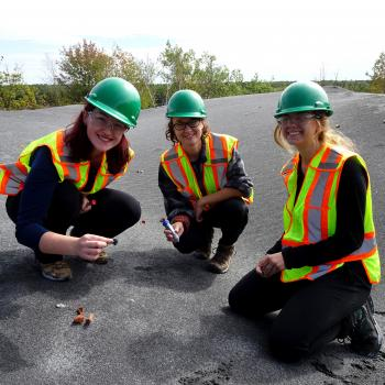 Three smiling students wearing safety vests and hard hats