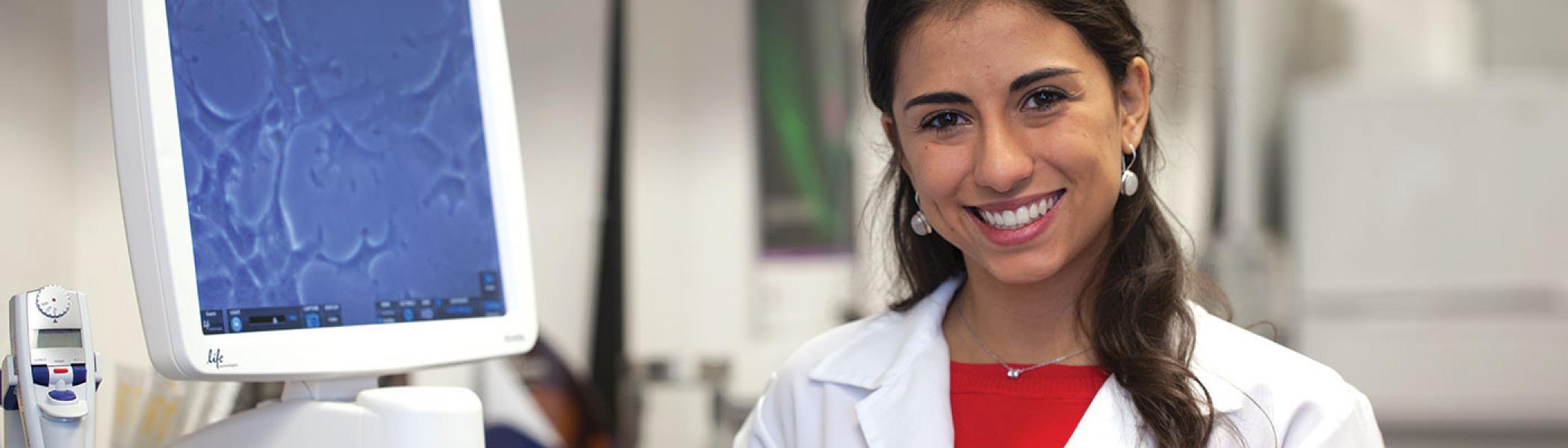 International student in lab