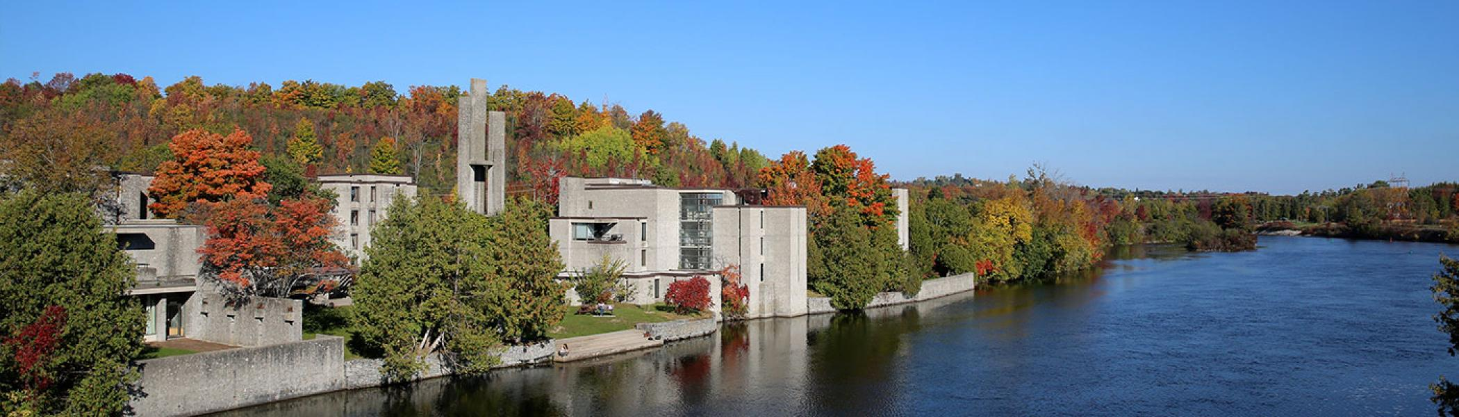 Champlain College in the fall from across the river