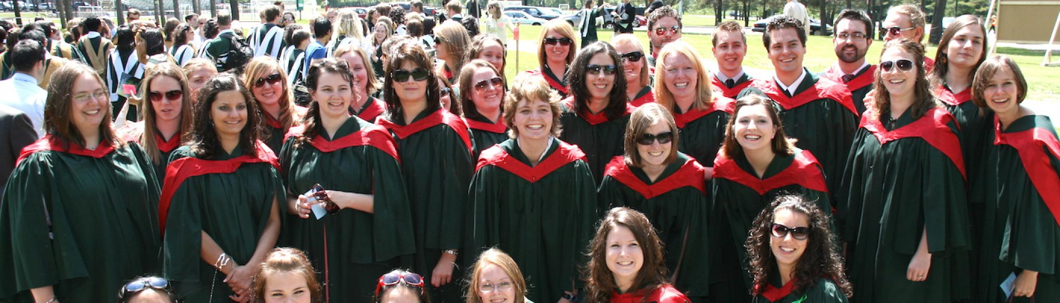 A group of forensic science graduates in their convocation day at Trent