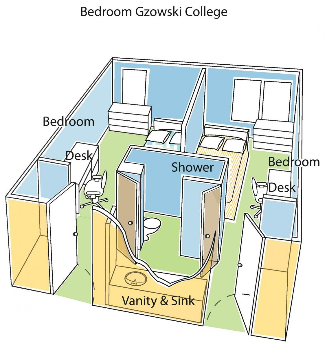 Illustrated interior of Gzowski College bedroom