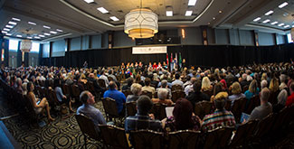 Wide angle view of the crowd seated at the Durham convocation ceremony