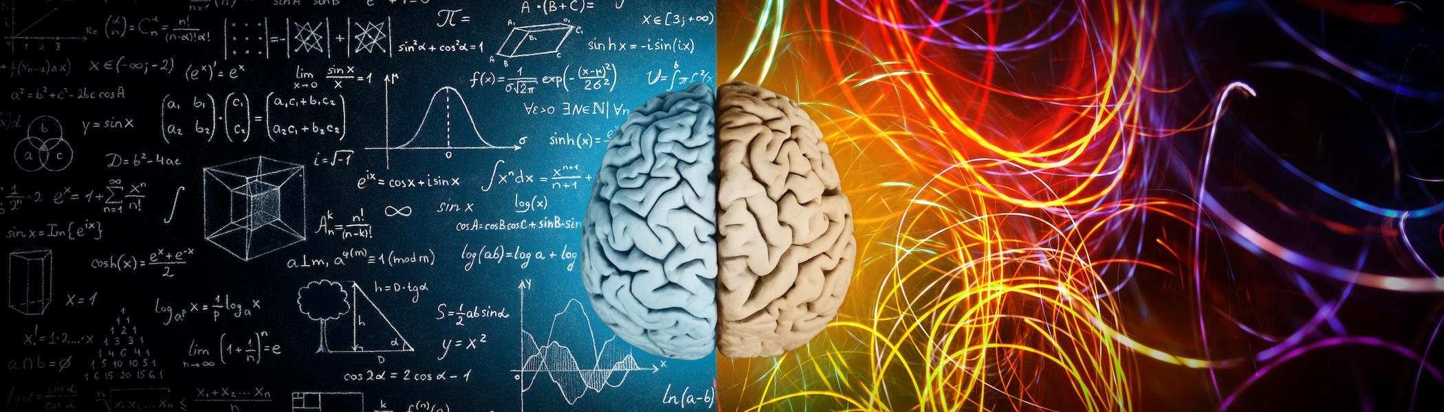 A visualization of a brain processing a variety of thoughts and equations