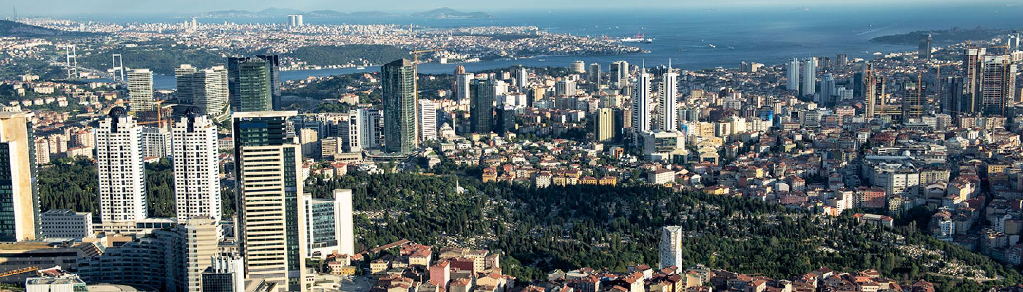 Aerial view of a cityscape with a park and an ocean surrounding the view