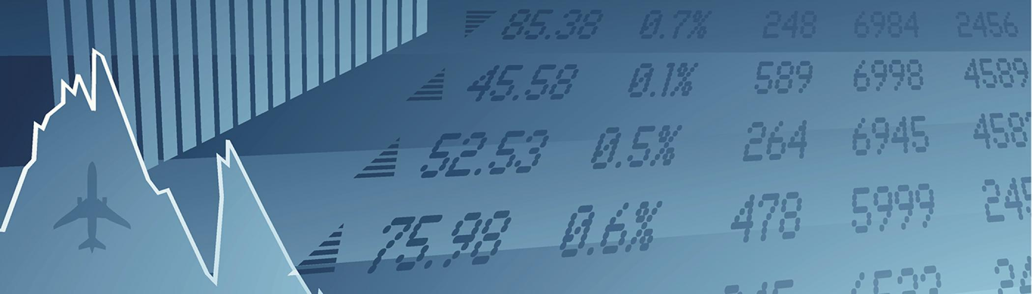 Stock ticker on blue background with stock chart and airplane in bottom left corner