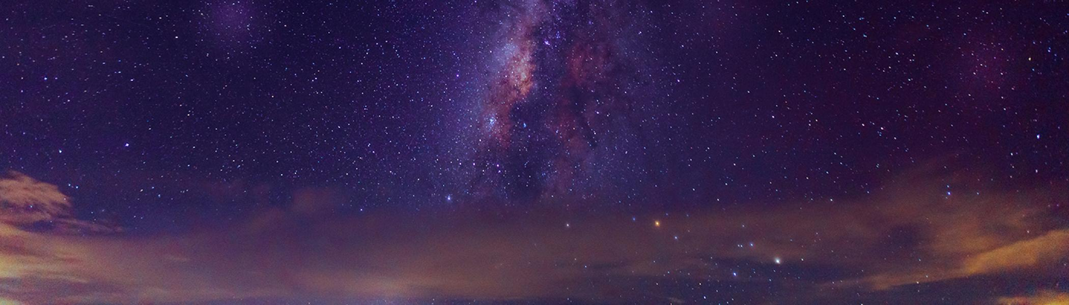 The night's sky with the milky way and bright stars