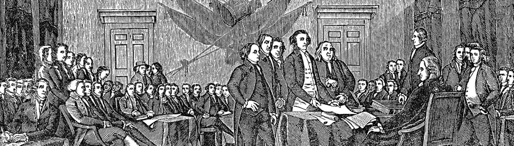 A black and white sketch of some officeres in uniform sitting in a large boardroom style room in the 1700's