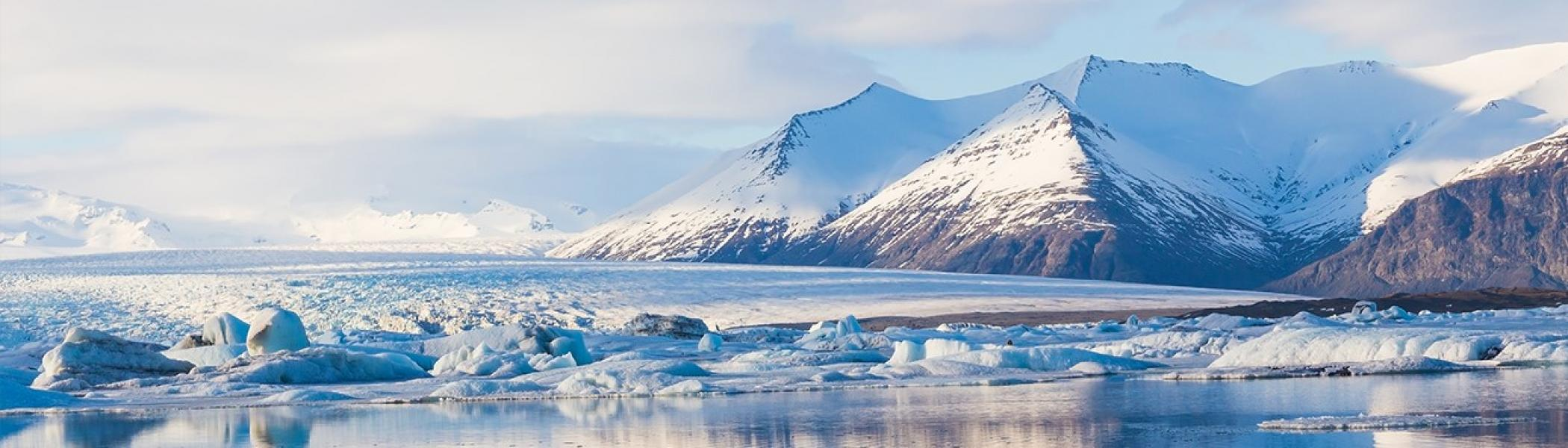 Arctic landscape with mountains and glaciers