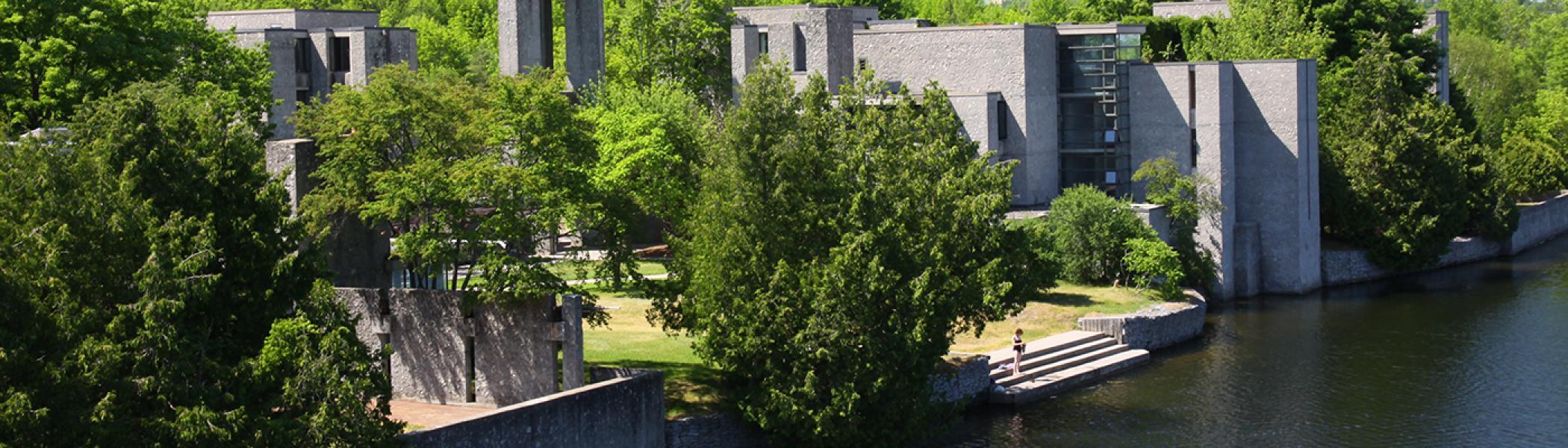 Champlain College vista overlooking the Otonabee river