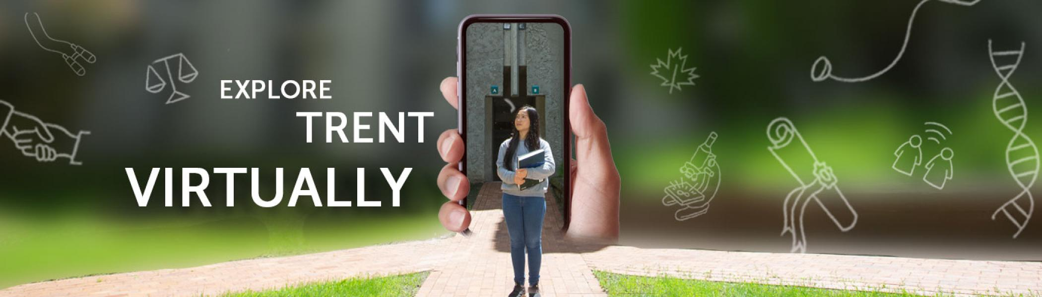Explore Trent Virtually, student standing in Champlain Courtyard with a cellphone behind her.