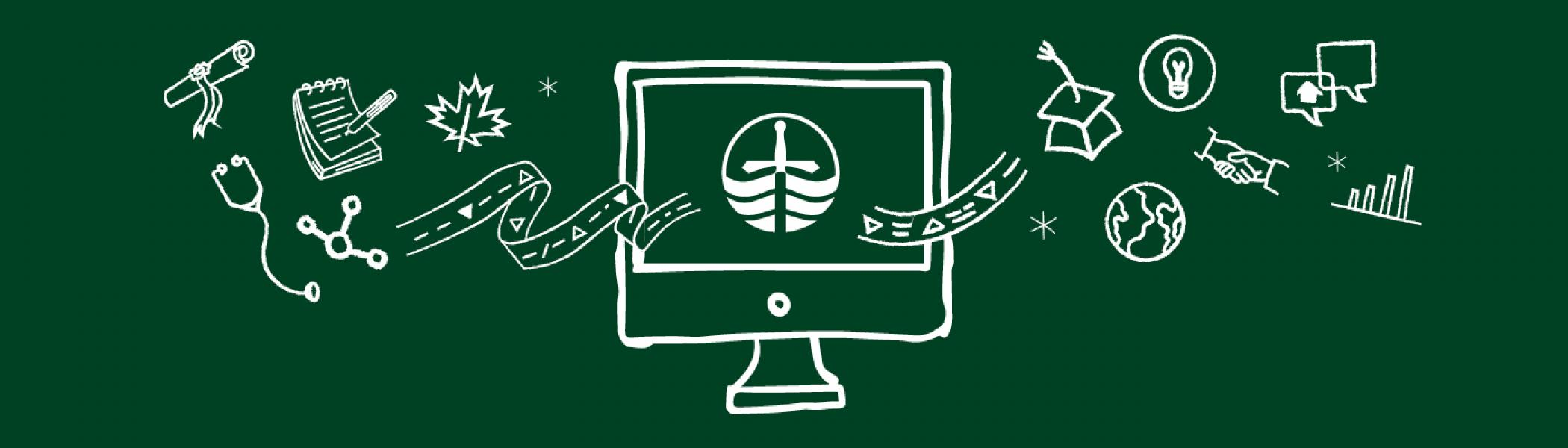 Illustration of a computer with symbols representing different subjects floating through it.
