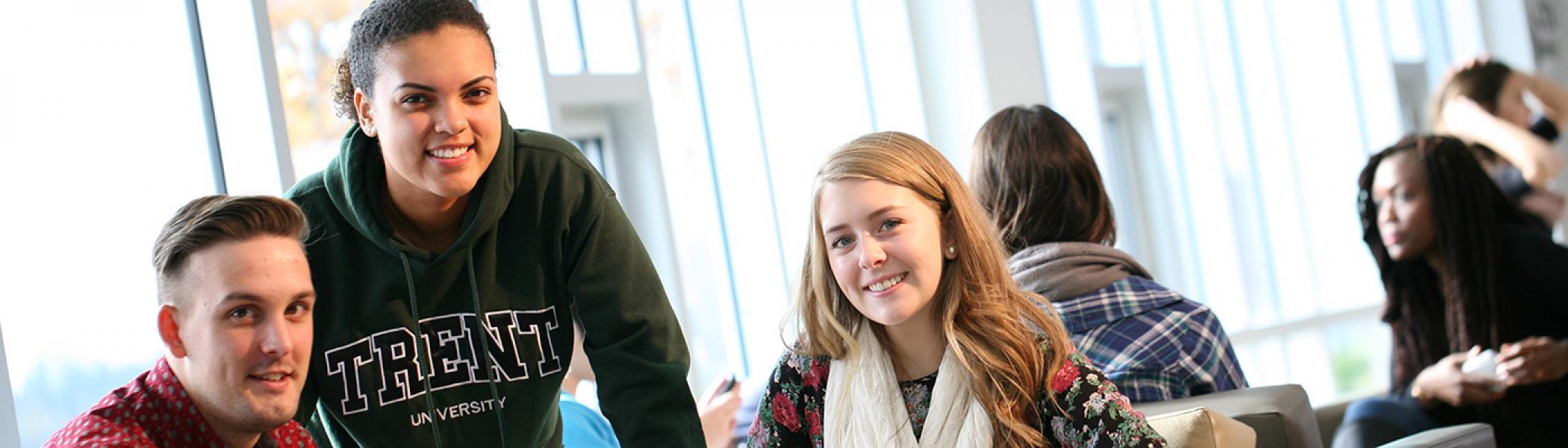 Three Trent University Durham students with laptop