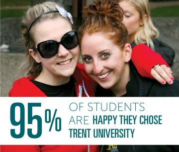 2 Students hugging in the courtyard in front of Lady Eaton College in front of a headline that reads: 95% of Students are happy they chose Trrent University