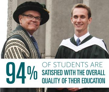 A student on the podium at convocation shaking hands with Dr. Don Tapscott in front of a headline that reads: 94% of Students are satisfifed with the overall quality of their Trent University education