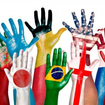a picture of colourful hands