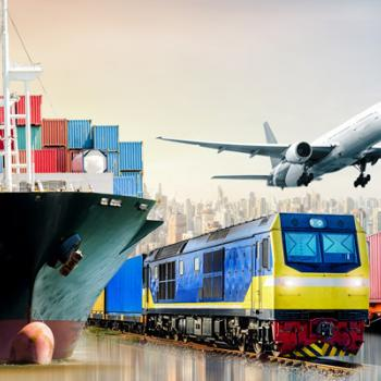Cargo ship, train, transport truck, airplane indicating various methods of transport.
