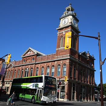 View of Go Bus traveling through downtown Peterborough