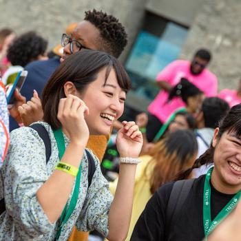 International student celebrating