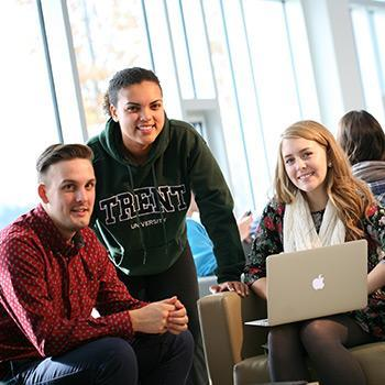 Three Trent University Durham students with laptop