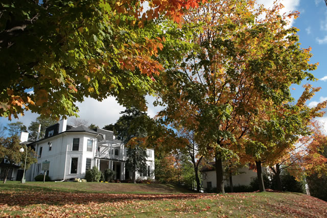 Exterior of trail college in the fall around mid-day