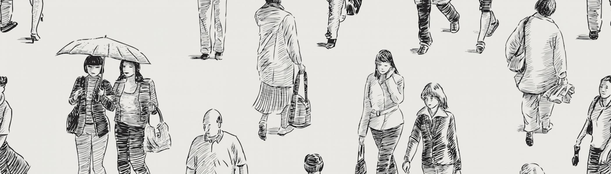 A sketch of multiple different people walking with a white background