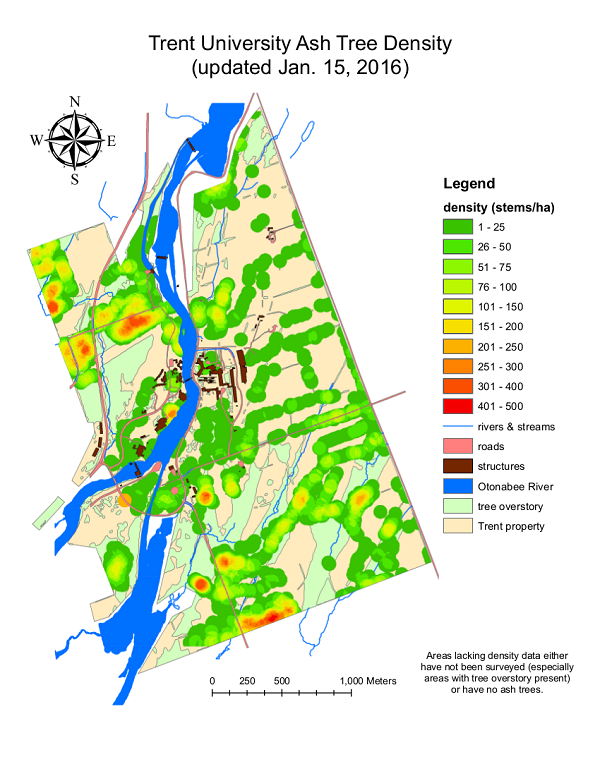 Map of Trent University Ash density
