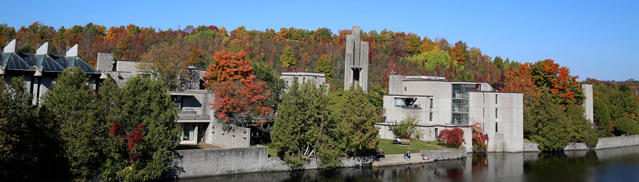 Champlain College in the fall surrounded by colourful trees