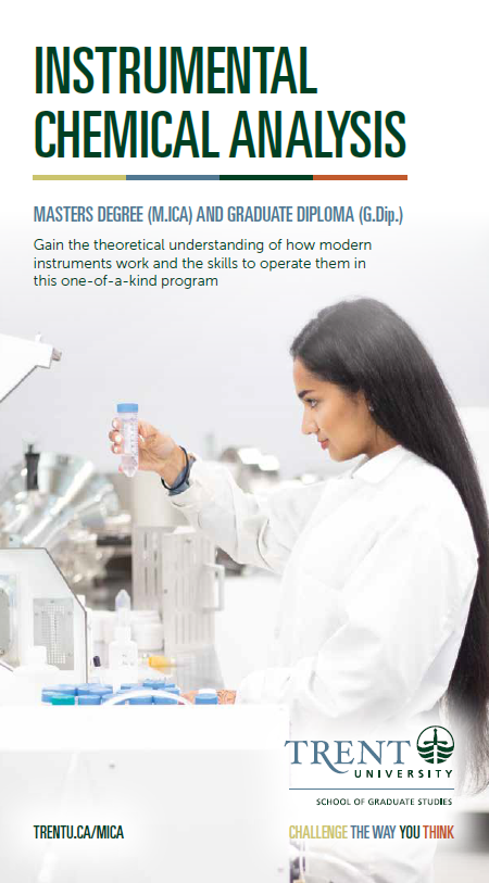 brochure front page of woman student in laboratory holding a sample