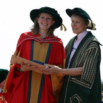 A woman receiving her PHD on convocation day