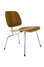 Two piece wooden desk chair with four metal legs