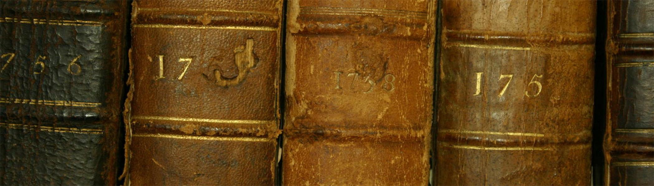 The spines of old history books