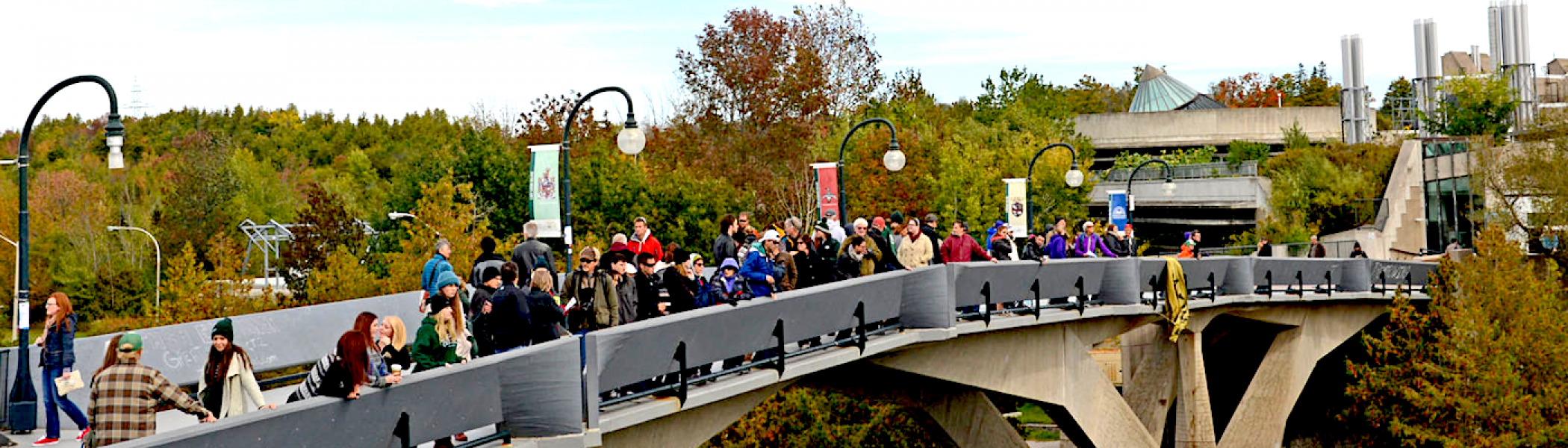 The Faryon Bridge in the fall with a crowd of people standing on it