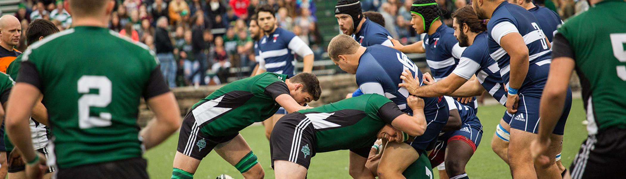 Men's rugby match on at the Athletic's Centre on the field