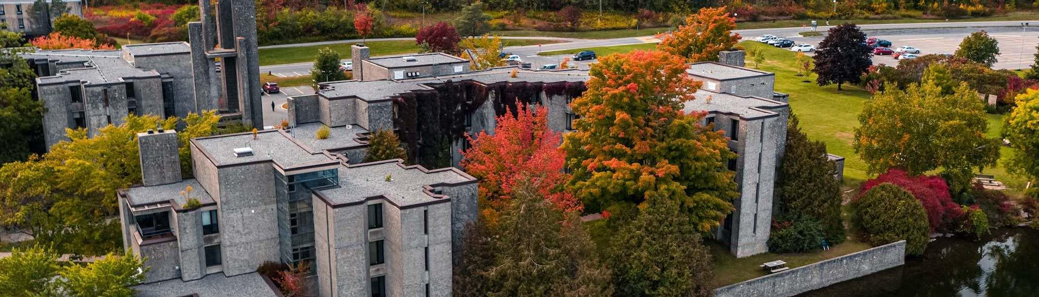 An aerial view of Trent's campus in fall